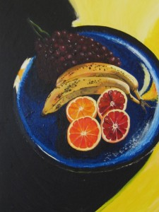 Apelsiner Blodapelsiner Bananer Vindruvor Stilleben Vita morte